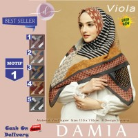 Jilbab Segi Empat Viola Voal Super Motif 1 By Damia Scarf - Kerudung