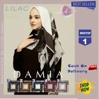Jilbab Segi Empat Lilac Cotton French Motif 1 New By Damia Scarf - Ori