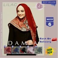 Jilbab Segi Empat Lilac Cotton French Motif 6 New By Damia Scarf - Ori