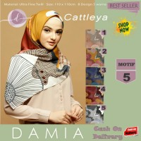 Jilbab Segi Empat Cattleya Ultra Fine Twill Motif 5 By Damia Scarf-Ori