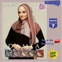 Jilbab Segi Empat Lilac Cotton French Motif 7 New By Damia Scarf - Ori