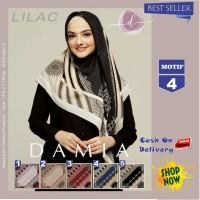 Jilbab Segi Empat Lilac Cotton French Motif 4 New By Damia Scarf - Ori
