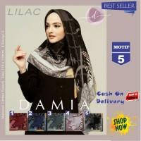 Jilbab Segi Empat Lilac Cotton French Motif 5 New By Damia Scarf - Ori