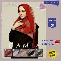 Jilbab Segi Empat Lilac Cotton French Motif 2 New By Damia Scarf - Ori