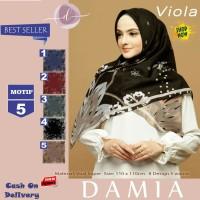 Jilbab Segi Empat Viola Voal Super Motif 5 By Damia Scarf - Kerudung