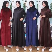 Baju Gamis Wanita Terbaru Gamis Jumbo Polos Gamis Beludru 4L 7138