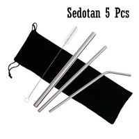 (Silver)Set 5Pcs Sedotan Minuman Stainless Steel Sikat Pembersih Pouch