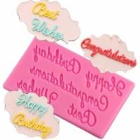 Cetakan fondant cokelat huruf alphabet alat dekorasi kue ulang tahun c