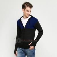 VM Sweater Rajut Hoodie Zipper Hitam Kombinasi Biru Dongker