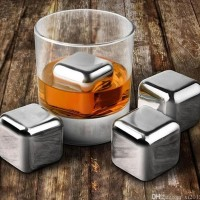 Es Batu Stainless Steel Ice Cube 4 Pcs Reusable w Case