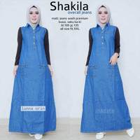 grosir outer syakira overall jeans wash