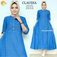 grosir baju claudia dress jeans