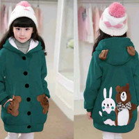 Jaket Hoodie Funny Rabbit & Bear Kid Tosca Dark