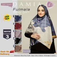 Jilbab Segiempat Fulmala Syari Ultra Fine Twill Motif 3 by Damia Scarf
