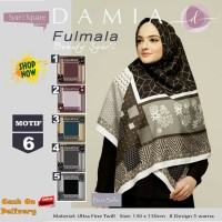 Jilbab Segiempat Fulmala Syari Ultra Fine Twill Motif 6 by Damia Scarf