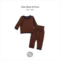 Hey Baby Stripe Pijama Set (Brown)