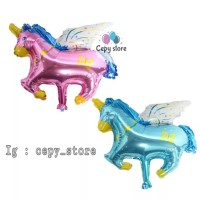 Balon Foil Unicorn / Kuda Unicorn / Pegasus Pink Biru Mini
