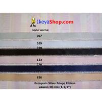 Grosgrain Silver Fringe Ribbon ukuran 3,8 cm (1-1/2″)