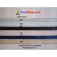 Grosgrain Silver Fringe Ribbon ukuran 2,5 cm (1″)