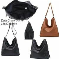 Tas wanita cewek branded hobo zara handbag chain bucket import murah
