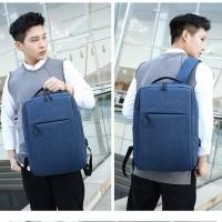 tas sekolah kuliah polos keren / tas ransel impor backpack USB