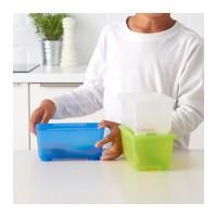 GLIS Kotak Penyimpanan set isi 3, putih/hijau muda/biru
