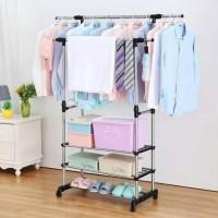 SH Stand Hanger Double Rak Serbaguna & Jemuran Pakaian