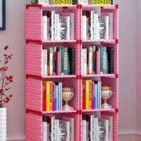 Rak Buku Portable / Lemari Serbaguna 2X5 (Pink Polkadot) MERK SHENAR