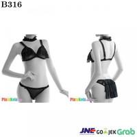 B316 - Bikini Bra Set Hitam Transparan Open Cup Open Butt Kalung Karet