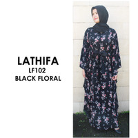 Just Mom Nursingwear Kaftan Menyusui Lathifa Black Floral LF102
