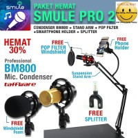 Paket Smule Pro2 Condenser BM800 + Stand Arm + Pop Filter+ Phone Stand