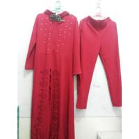 grosir baju setelan wanita wafle mutiara maroon