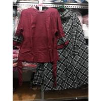 grosir baju setelan wanita katun linen maroon