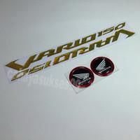Sticker Timbul Honda VARIO 150 GOLD Stiker Bulat Hitam List Merah NEW