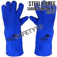 Steel Horse Sarung Tangan Las Lokal Pelindung Panas Biru 16 inch