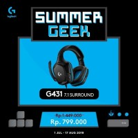LOGITECH G431 7.1 SURROUND SOUND GAMING HEADSET Garansi 2thn