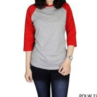Kaos Raglan Wanita Cotton Combed S20 Abu Kombinasi Merah – POLW 27