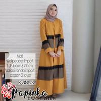 Papinka Twotone Wollpeach/Maxi Dress/Gamis Wanita/Baju Muslim Wanita