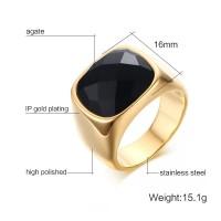 Men Black Carnelian Stone Signet Gold Color Vintage Ring