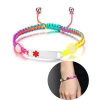 Adjustable Rainbow Braided Rope Medical Alert ID Tag Bracelet
