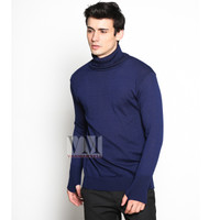 VM Krah tinggi Sweater Rajut Biru Dongker