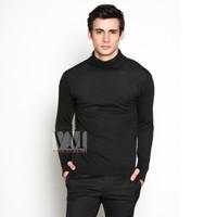VM Krah tinggi Sweater Rajut Hitam