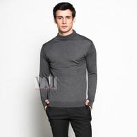 VM Sweater Rajut Krah Tinggi Panjang Abu Tua