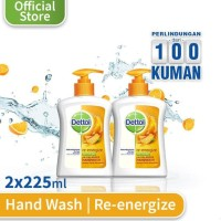 Dettol Sabun Cuci Tangan Re-Energize - Pump 225Ml X 2 Pcs - Hand Wash