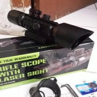 HOT SALE Tele Teropong Riflescope M9 3-10x42 E Red Laser Terjarmin