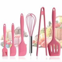 Set 6pcs Peralatan Masak Baking warna Pink Silikon cookware spatula