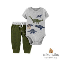 Catell 2in1 Dino Grey Jumper / Baju jumper bayi laki-laki
