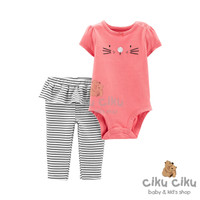Catell 2in1 Cat Pink Jumper / baju stelan jumper bayi perempuan
