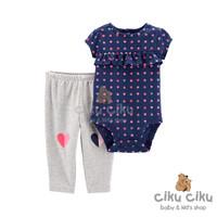 Catell 2in1 Heart Navy Jumper / Baju jumper bayi perempuan