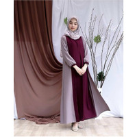 Baju Pakaian Wanita Layna Dress Mocca Combi Coral Grosir Baju Gamis
